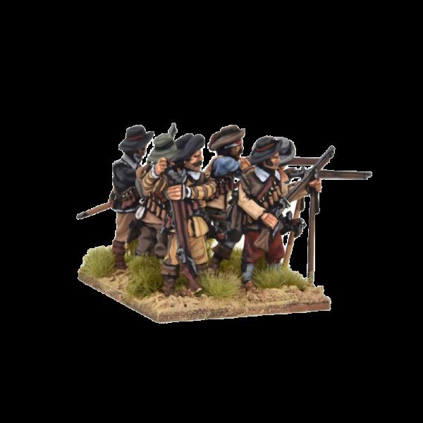 Spanish Tercios Musketeers Firing 2 row view B.