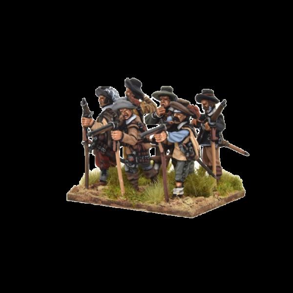 Spanish Tercios Musketeers Firing 2 row view C.